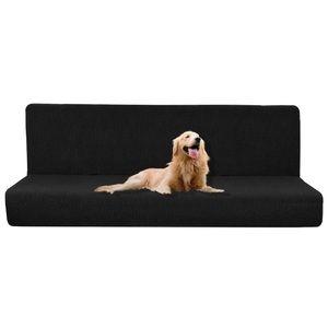 Stretch Sofa Slipcover Black Armless One Piece